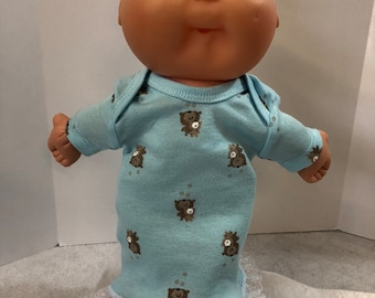 "Cabbage Patch NEWBORN 12 inch Doll Clothes, Pretty Blue with ""MOMMY & Baby BEARs"" Nightgown, 12 inch Newborn Doll Clothes Nightgown"