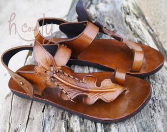 Handmade Brown Leather Leaf Sandals, Womens Sandals, Leather Sandals Women, Hippie Sandals, Cowgirl Sandals, Leaf Sandals, Boho Sandals
