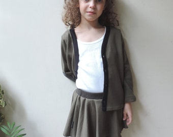 Baby Skirt Leggings, Toddler Skirt Leggings, Girls Thanksgiving Outfit 2t, Olive Skirt, Girls Size 18m To 6Y - By PetitWild
