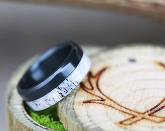 "The ""Tanner"" - Elk Antler Wedding Ring Set on Black Zirconium - Staghead Designs"