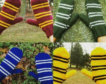 Harry Potter House Mittens Pattern - Instant PDF Digital Download Harry Potter Gryffindor, Slytherin, Ravenclaw, Hufflepuff Mittens Pattern