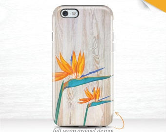 Birds of Paradise iPhone 6 Case iPhone SE Case Modern Floral Galaxy S7 Case iPhone 5s Case iPhone 7 Case Tropical Flower iPhone 6 Cover  16t