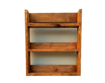 Rustic Spice Rack | 3 Shelves 41cm Tall | Open Top | Medium Oak Finish | Reclaimed Wood | 25.5cm to 57cm Wide