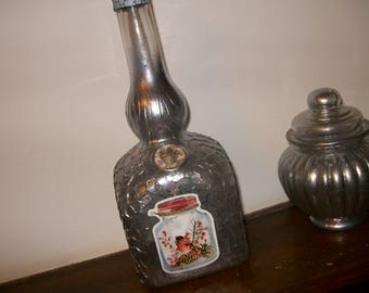 Set of Decanter and old bomboniere revamped, vintage