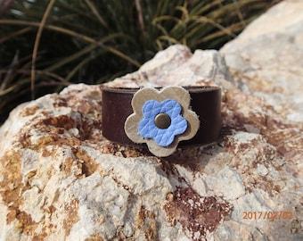 dark brown leather cuff/flower bracelet/upcycled leather cuff//leather bracelet/blue flower cuff/womans bracelet/girls bracelet/jewelry/C259