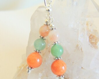 Peach and Green Aventurine Dangle Earrings