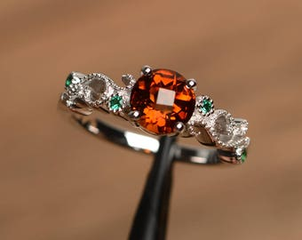 garnet engagement ring natural orange garnet ring January birthstone round cut gemstone sterling silver ring