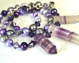 Fluorite and Purple Pearl Necklace with Grey Freshwater Pearls and Natural Fluorite Points Handmade in Maine from North Atlantic Art Studio