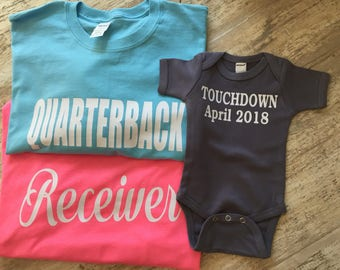 Baby Reveal Tees, Football Theme, Quarterback , Receiver, Touchdown, Dad, Mom, Baby Reveal