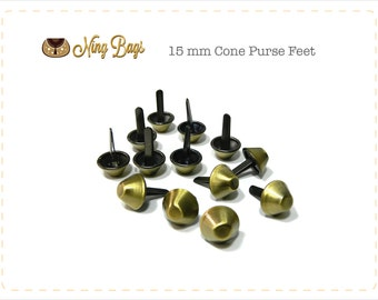 Set of 20 // (15 mm) Cone Purse Feet, Bag Feet in Brushed Antique Brass Finish