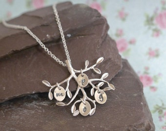 Silver Family Tree Necklace, Mothers Day Gift, Birthday Gift for Mum, Personalised Gift for Grandma, Childrens Initials