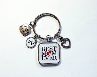 Best Mom Ever Keychain, Mothers Day Gift, Keyring with charms, Keyring for Mom, monogram keychain, personalized gift, gift for mom  (7928)