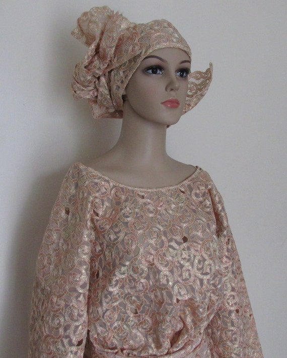 wrap Nigeria Buba see Gold amp; African head 20 High with wedding DESCRIPTION Outfit Fabric UK gele end 22 thick Size Lace Iro scarf wqfvqxYp61