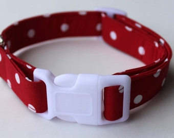 Red and White Polka Dot Dog Collar Size XS, S, M or L