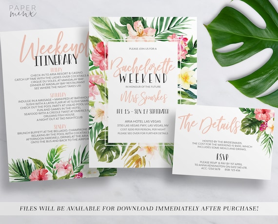 Printable Tropical Bachelorette Weekend Invitation - Party invitation template: bachelorette party itinerary template