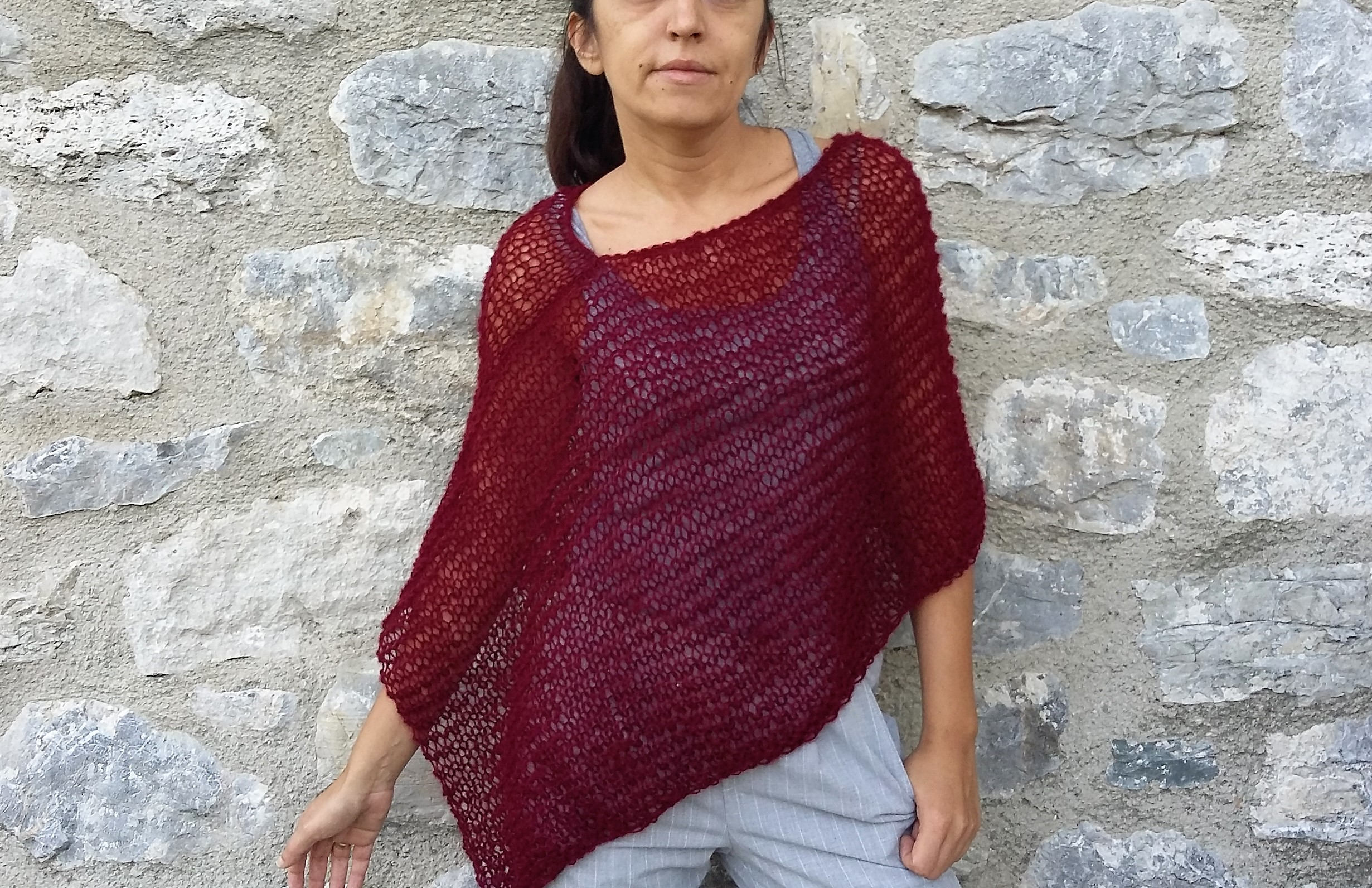 Increíble How To Knit A Poncho For Beginners Pattern Molde - Manta ...