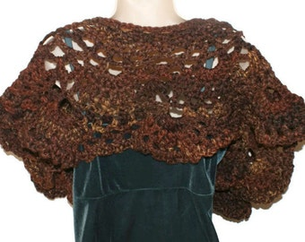 Crochet Shawl, Women Shawl, Chunky Shawl, Brown Shawl, Wool Shawl, Winter Wrap, Womens Stole, Winter Fashion, Fall Fashion, Trendy Knit