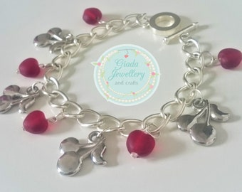 Handmade Summer Cherry Bracelet, with red hearts