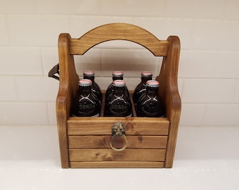 Artisan Crafted Beer Carrier with Rustic Bottle Opener | Handmade Beer Caddy with Magnetic Cap Catch | FREE SHIPPING