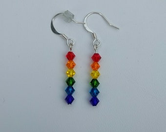 Pride Flag Rainbow Crystal Earrings