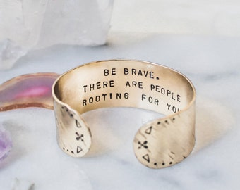 Be brave bracelet. Inspirational bracelet. Inspirational quote. Inspirational gift. Secret message gold quote cuff, arrow cuff, RTS CB013