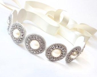 Sash - Exquisite Pearl and Rhinestone Bridal Belt Sash - Satin Ribbon - Silver Rhinestone Pearl Appliqué - Wedding Dress Belt - Extra Long