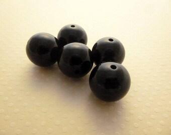 Set of 5 acrylic beads black 20 mm - PA20 1532