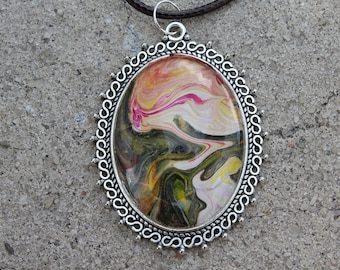 "2"" Pendant with Necklace featuring Original Art with Black, White, Red, Yellow"