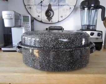 Large Oval Enamel Roasting Pan