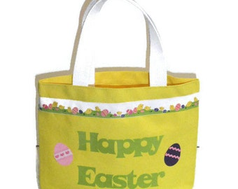Happy Easter, Applique Tote Bag, Toddler Handbag Purse, Top Handle Bag, Easter Gift For Little Girls, Collect Easter Eggs and Use As A Purse