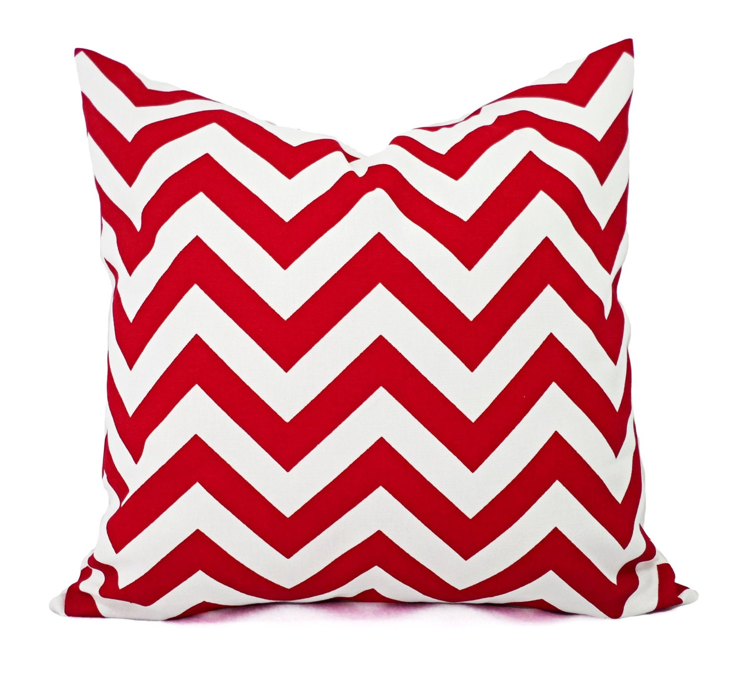 Two Chevron Pillow Covers Red and White Pillows Pillow