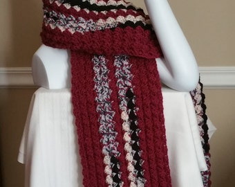 Crocheted Scarf, Long Scarf, Scarf, wine colored scarf, berry colored scarf, winter scarf, long scarf