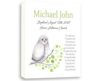 Baby Boy Naming Day, Baptism Gift, Watercolor Baby Owl Gift, Dedication Gift, Godson Gift TE110C