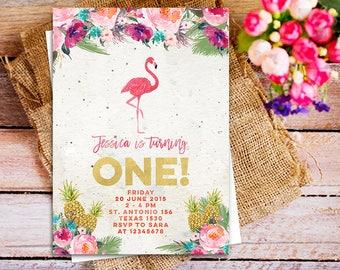 flamingo pineapple 1st birthday invitation printable, Flamingo Invitation Girls Birthday Floral Pink, gold flamingo invitation, pink gold
