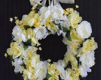 "White and Yellow Spring Peony Wreath - 24"" Diameter"
