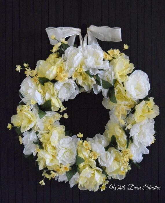 "White and Yellow Spring Peony Wreath - 24"" Diameter"