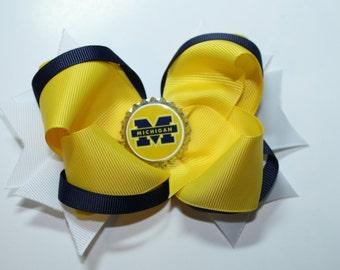 University of Michigan hair bow