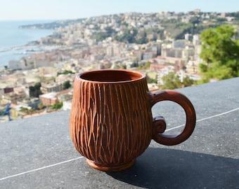 Tazza caffè, tazza marrone, tazza ceramica, tazza tè, regalo per Natale, regalo per nipote, tazza fatta a mano, coffee mug, tea cup, pottery