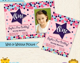 Star Invitation • First Birthday Invite • Baby • 1st Birthday Party • Pink Purple Blue • Second • Picture • Boy Invitation • Thank You •032B