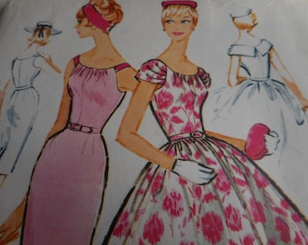 Vintage 1950's McCall's 4957 Dress Sewing Pattern Size 14 Bust 34