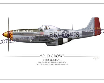"P-51 Mustang - ""Old Crow"" Clarence ""Bud"" Anderson WW2 Aviation Warbird Art Print"