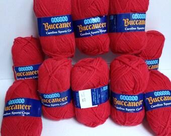 Patons Wool Bundle Bright Red Yarn Destash Carefree Sports Crepe Vintage Patons Buccaneer 10Skein Bundle Rich Red Yarn Made in Great Britain