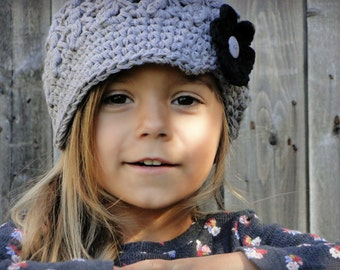 Crochet Newsboy Hat, hat with flowers, interchangeable flowers, baby hat, hat for girls