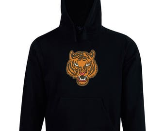 Embroidered Tiger design fleece hoodie made just for you. Embroidery applique personalized custom made to order.