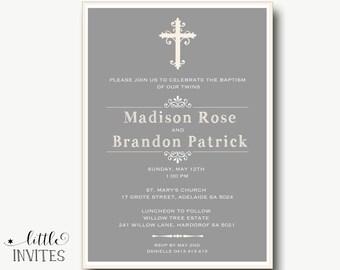Twin Baptism Invitation/Elegant Twins baptism invitation/printable/Ivory Baptism/Confirmation/First Holy Communion-Madison & Brandon