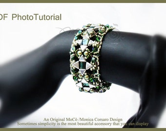 DIY Photo Tutorial Eng-ITA ,*Kiyo* bracelet ,PDF Pattern 68 with khéops, swarovski ,seed beads,instructions