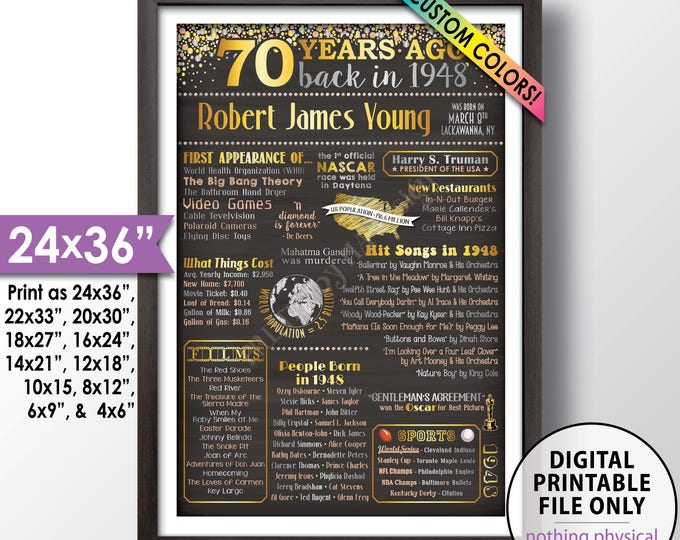 "70th Birthday Gift, 1948 Birthday Poster, Back in 1948 Flashback 70 Years Ago, 1948 Bday, Chalkboard Style PRINTABLE 24x36"" 1948 Poster"