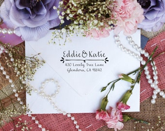 Self Inking Custom Return Address Stamp, Couple Return Address Stamp, Cute Stamp for Newly Weds --5434