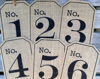 Burlap Table numbers, Rustic table numbers, Burlap hang tags, Rustic Wedding decor, Mason jar tags, TWINE INCLUDED