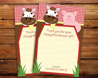 Farm Thank you cards, barnyard thank you notes, Gingham stationery, Cow, Pig, Baby Shower, Birthday, 20 Printed Cards in any color